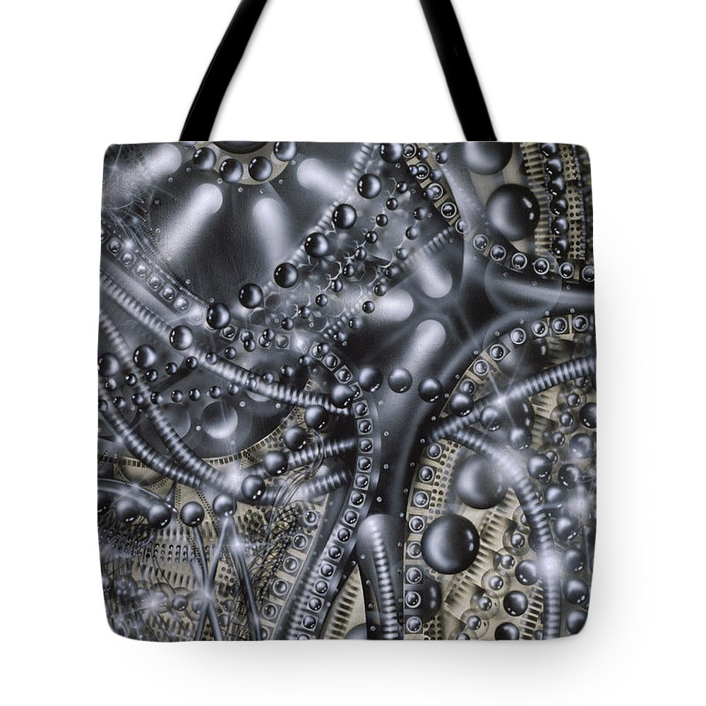 Abstract Tote Bag featuring the painting Violin by James Christopher Hill