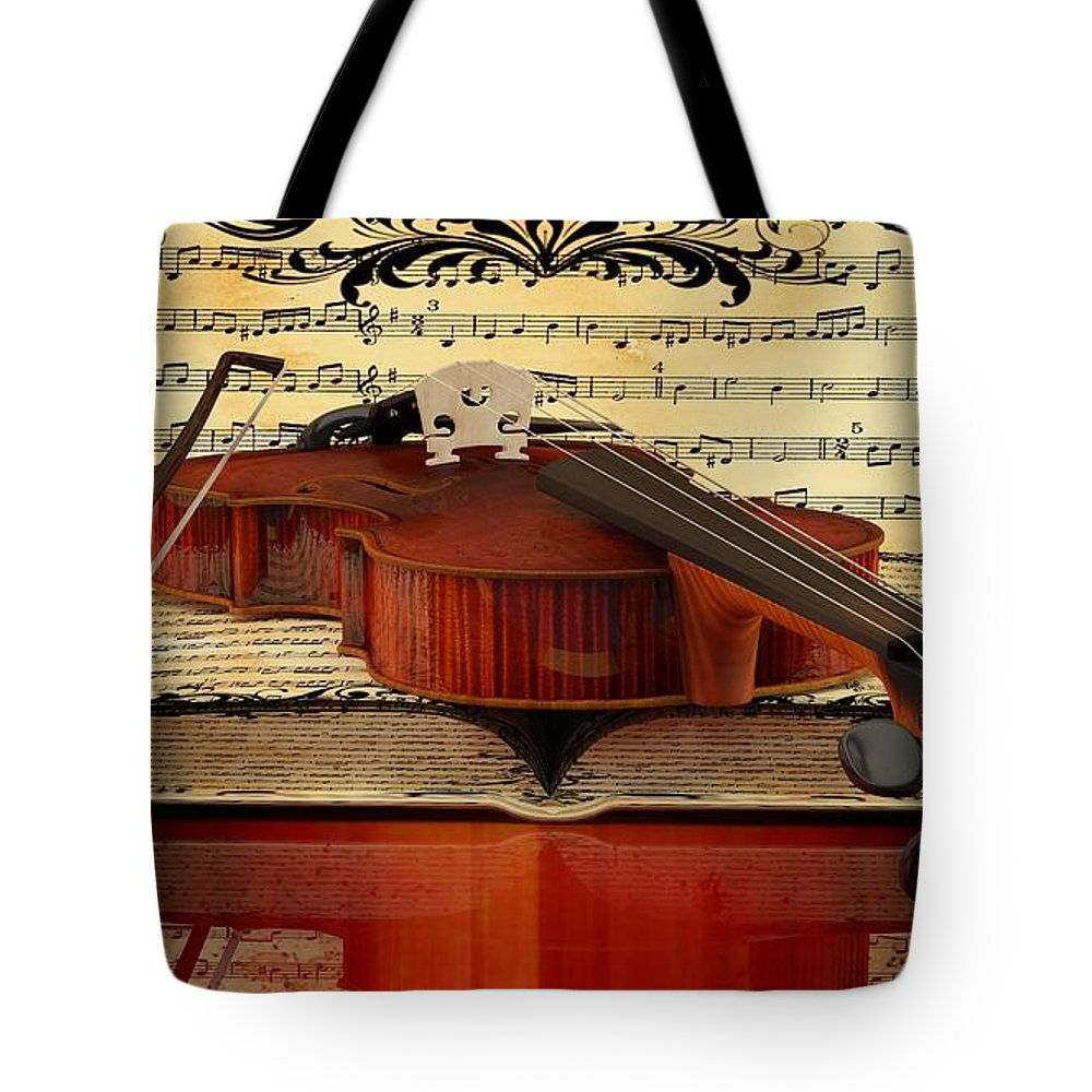 Violin Picture Tote Bag featuring the digital art Violin by Louis Ferreira
