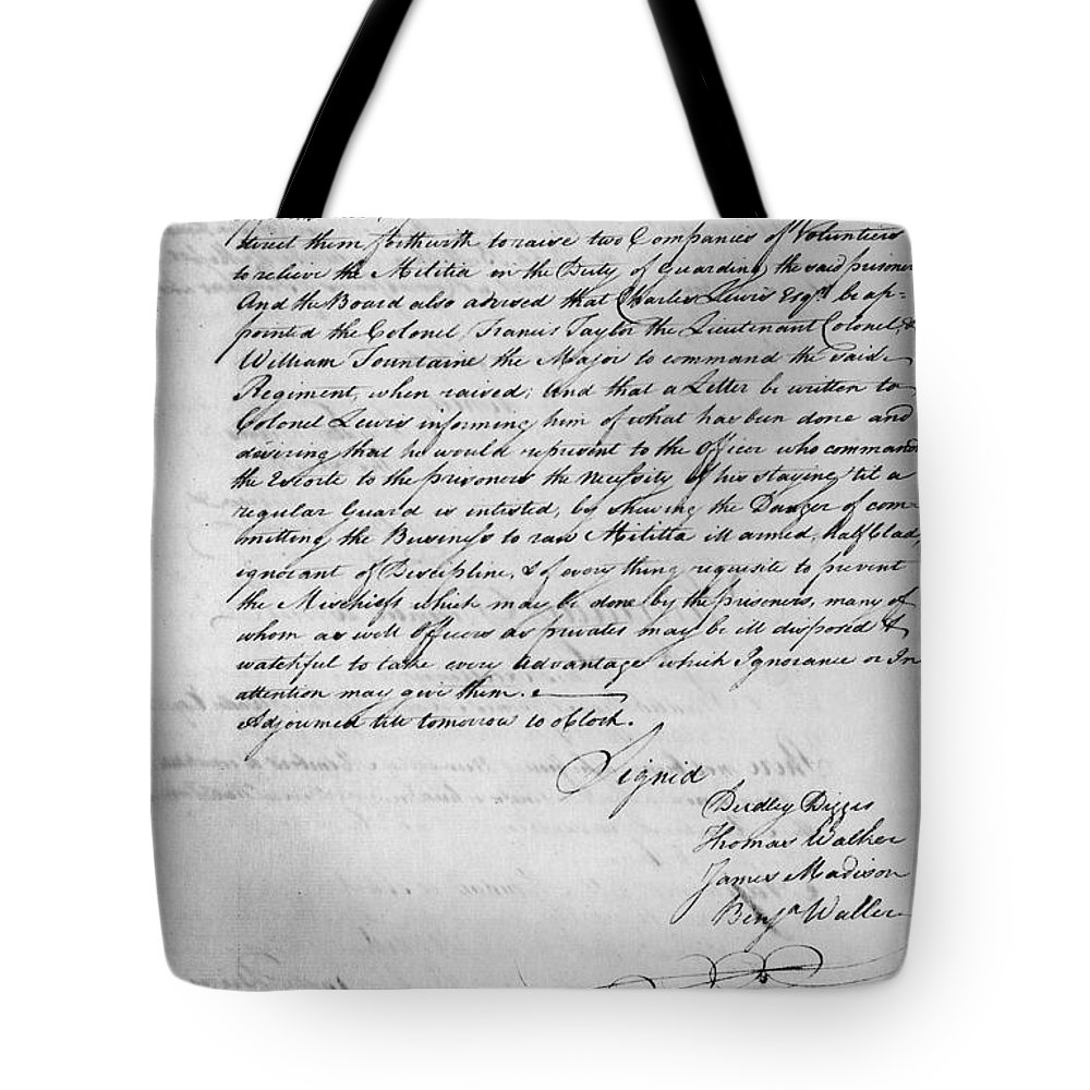 1778 Tote Bag featuring the photograph Virginia Council Of State by Granger