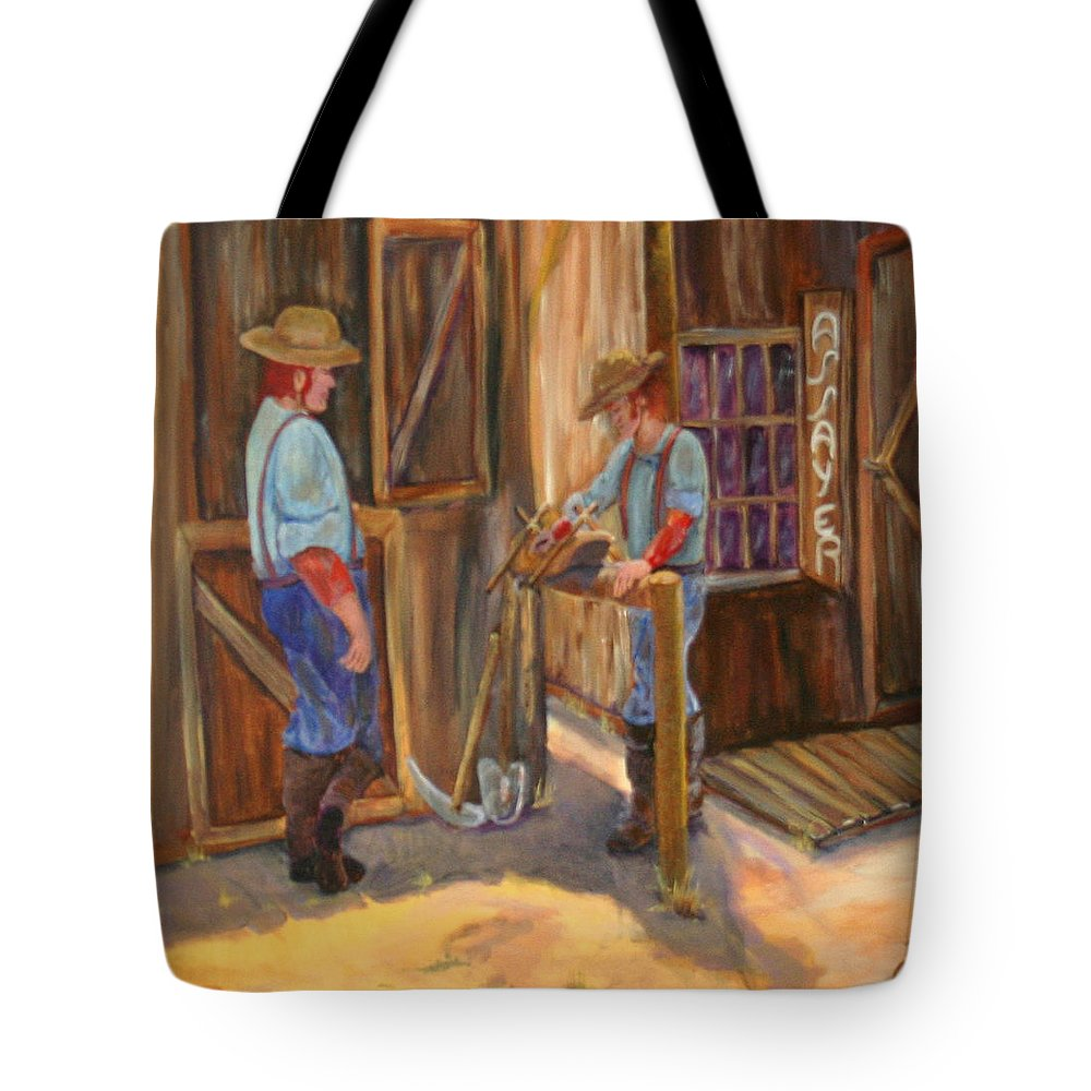 #old West Prints Tote Bag featuring the painting Waiting On The Assay by Gail Daley
