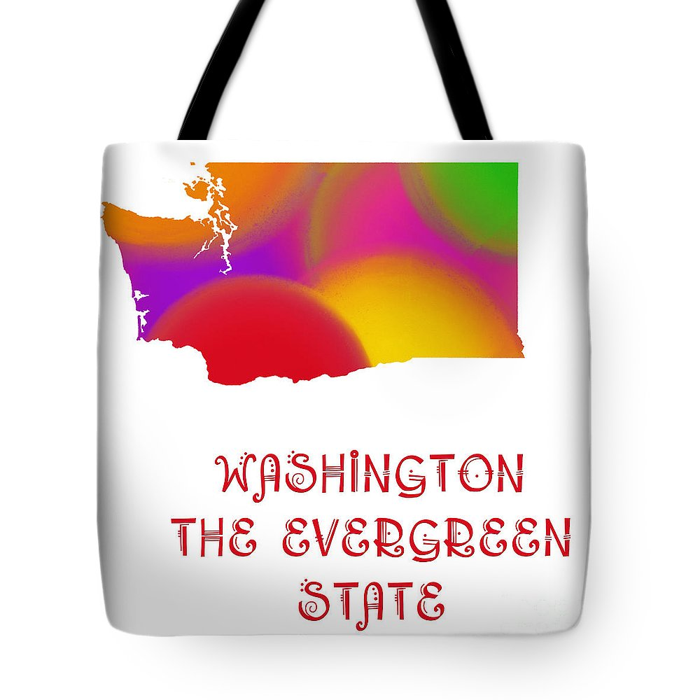 Andee Design Tote Bag featuring the digital art Washington State Map Collection 2 by Andee Design