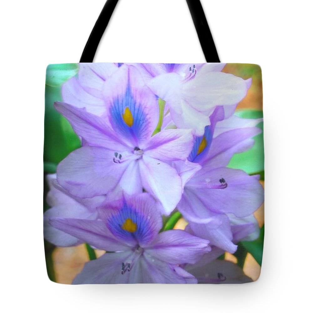 Grew This Plant In My Outdoor Pond.very Invasive Water Plant. Tote Bag featuring the photograph Water Hyacinth by Robert Floyd