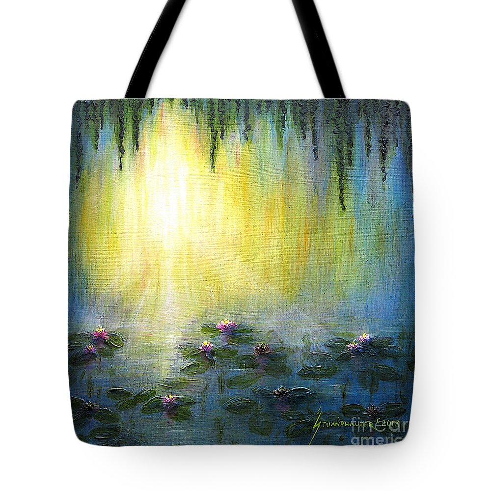 Water Lilies Tote Bag featuring the painting Water Lilies At Sunrise by Jerome Stumphauzer