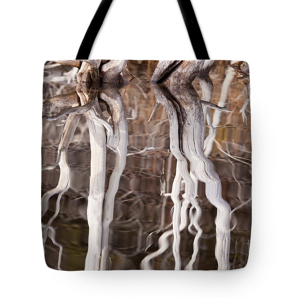 Abstract Tote Bag featuring the photograph Weathered Dead Wood Mirrored On Rippled Surface by Stephan Pietzko