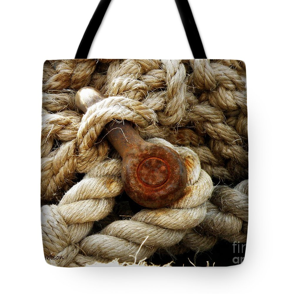 Rope Tote Bag featuring the photograph Weathered by Lainie Wrightson