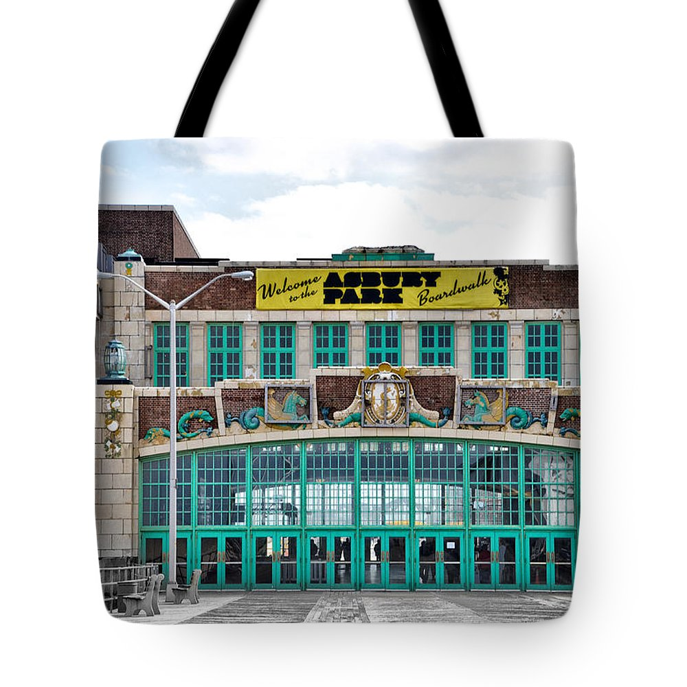 Welcome Tote Bag featuring the photograph Welcome To The Asbury Park Boardwalk by Bill Cannon
