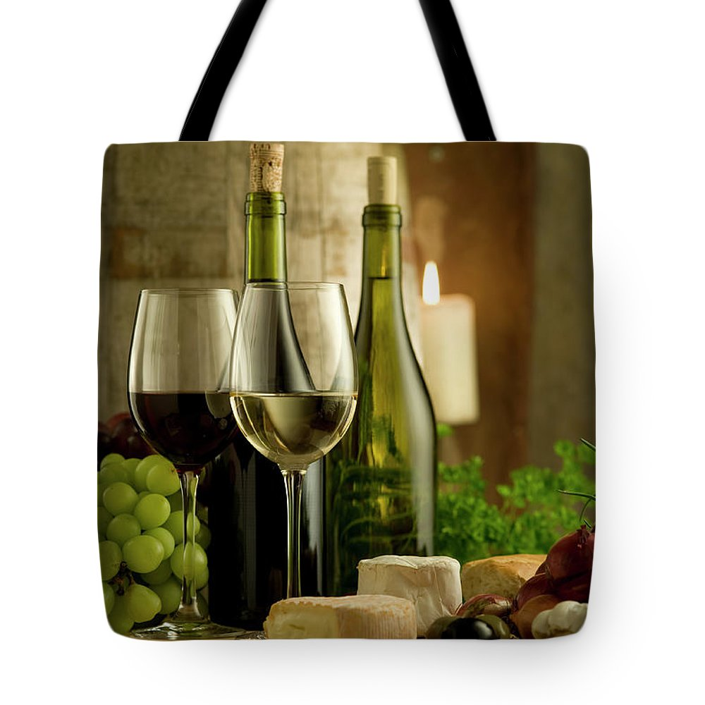 Cheese Tote Bag featuring the photograph White And Red Wine In A French Style by Kontrast-fotodesign
