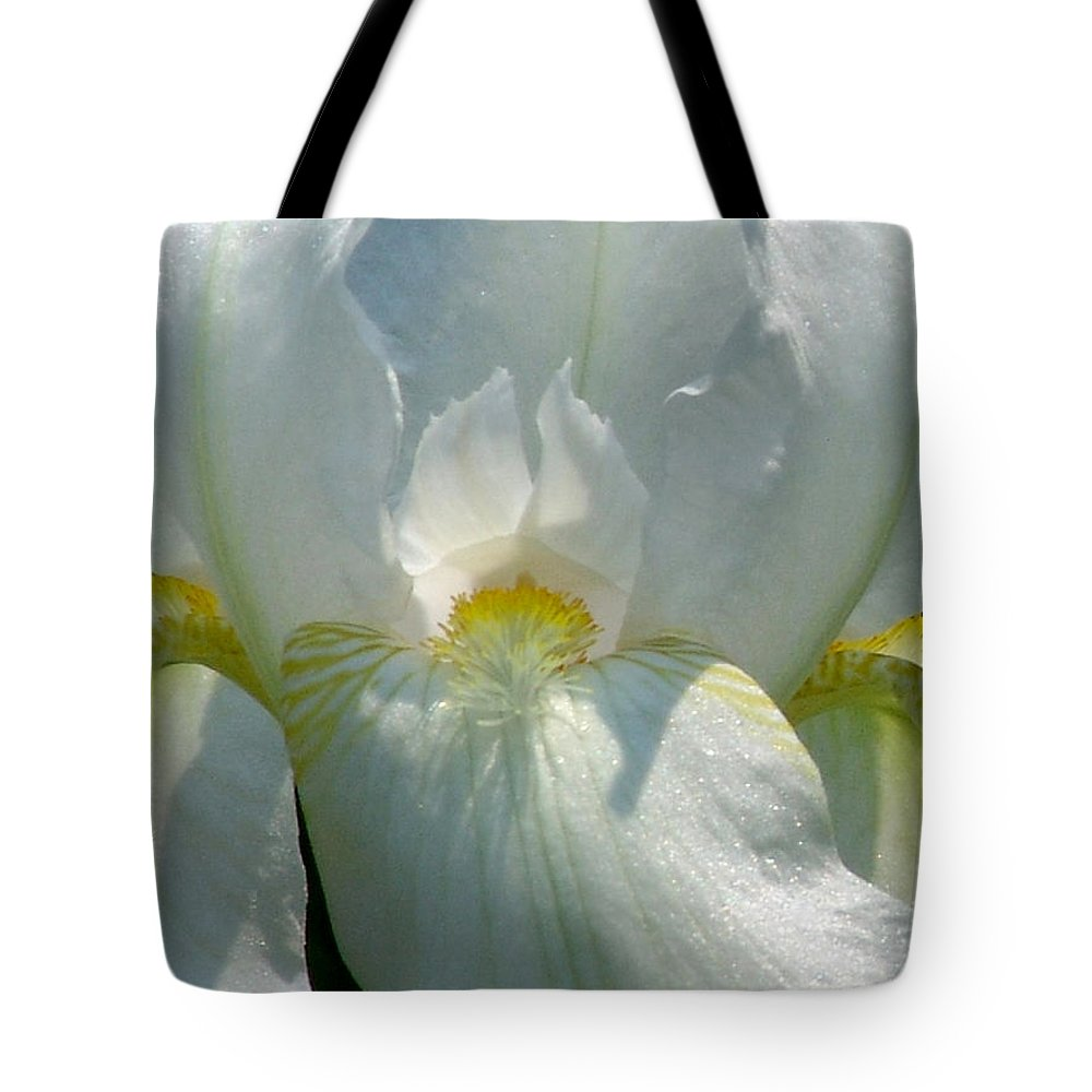 White Tote Bag featuring the photograph White Iris by David Hohmann