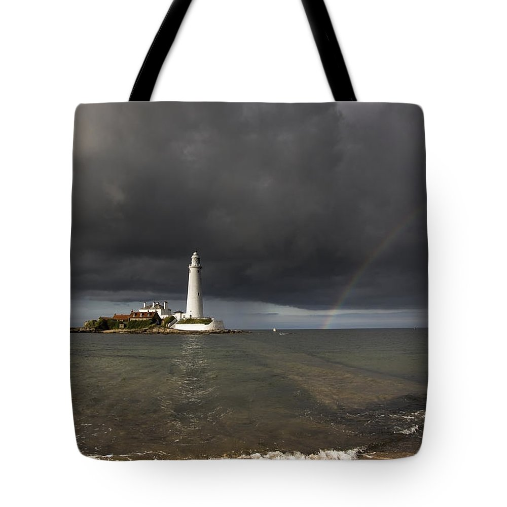Hope Tote Bag featuring the photograph White Lighthouse Illuminated By by John Short