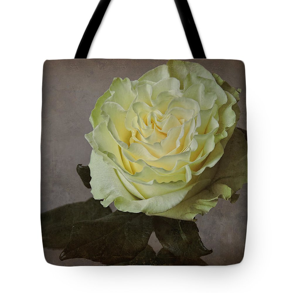 Flower Tote Bag featuring the photograph White Rose With Old Paper Texture by Vesela Yokova