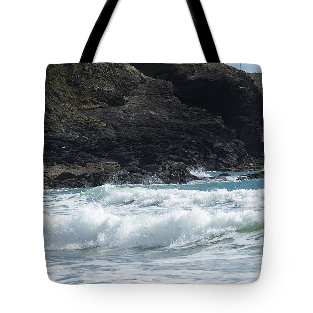 Cornish Seascape Tote Bag featuring the photograph White Surf by Brian Roscorla