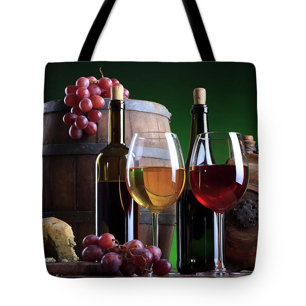 Cheese Tote Bag featuring the photograph Wine Composition by Valentinrussanov