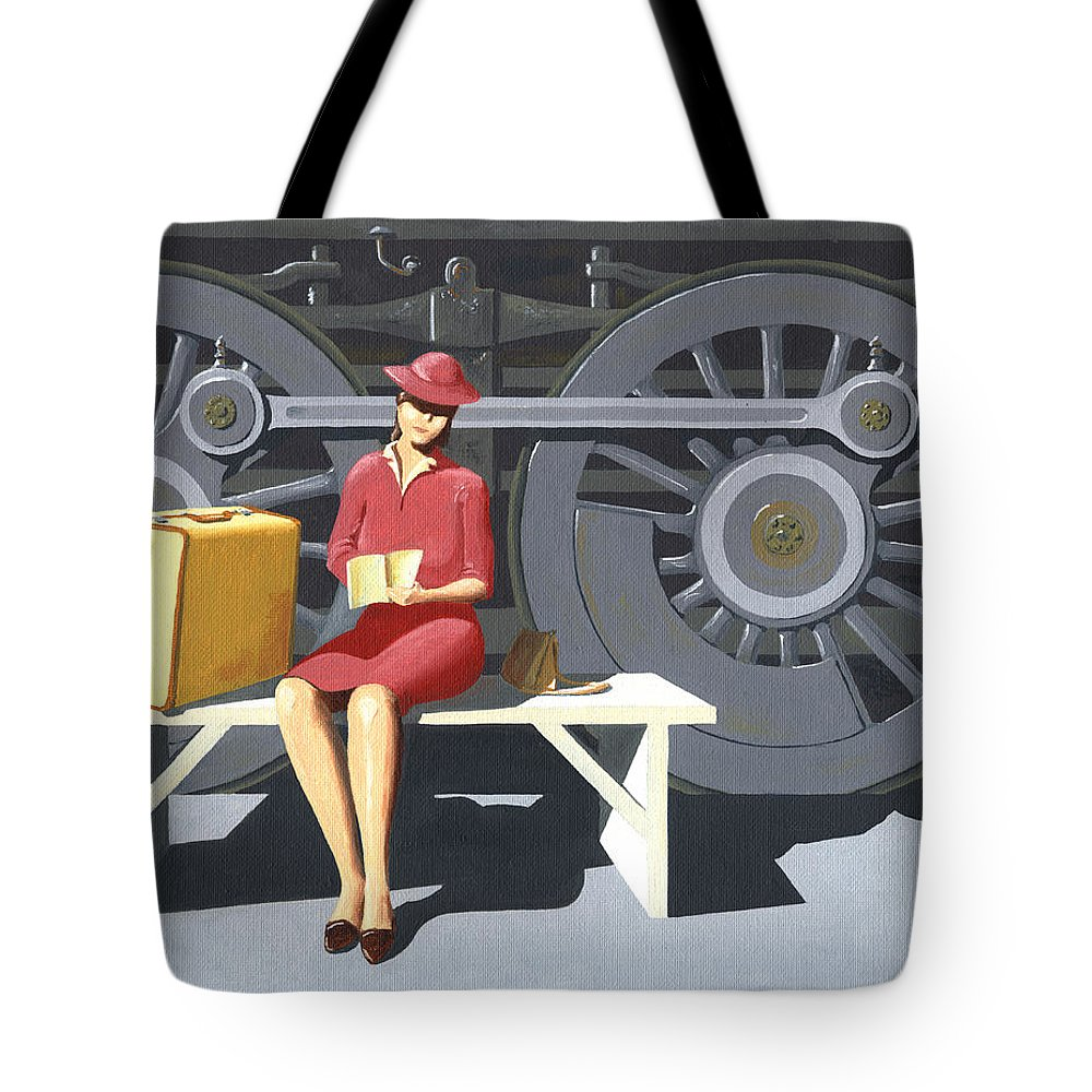 Woman Tote Bag featuring the painting Woman With Locomotive by Gary Giacomelli