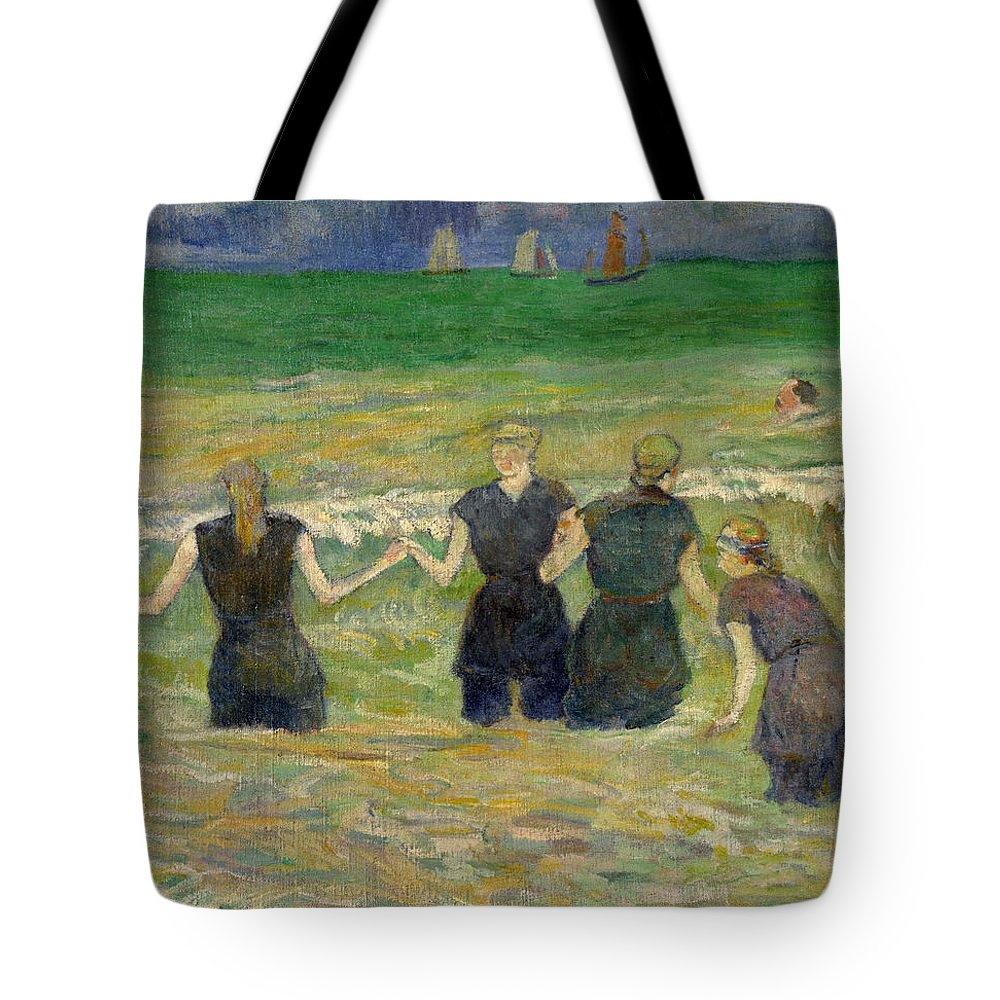 Paul Gauguin Tote Bag featuring the painting Women Bathing by Paul Gauguin