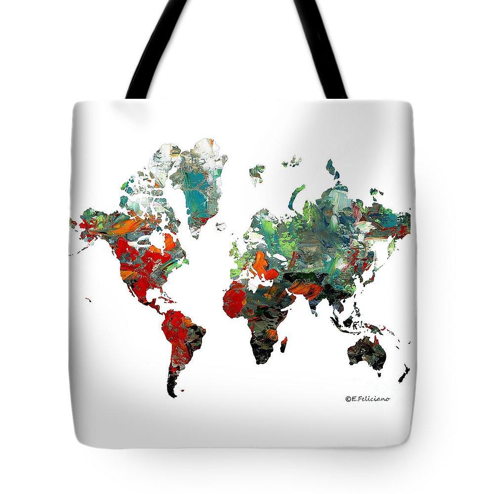 Elena Feliciano Art Tote Bag featuring the painting World Atlas by Elena Feliciano