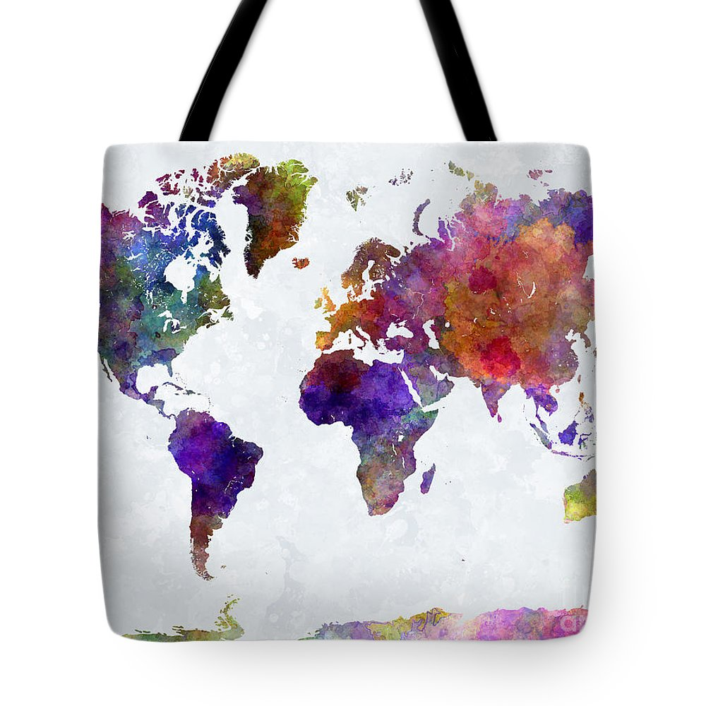 Map Tote Bag featuring the painting World Map In Watercolor by Pablo Romero