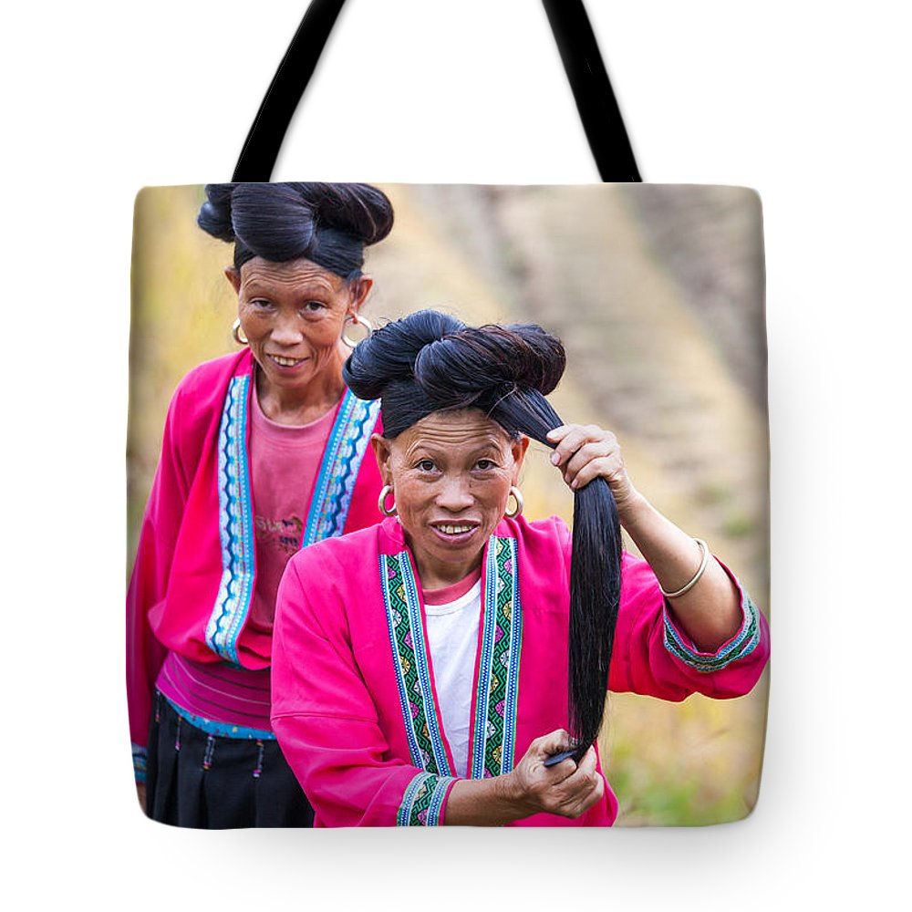 40-50 Tote Bag featuring the photograph Yao Ethnic Minority Women On Rice Terrace Guilin China by Matteo Colombo
