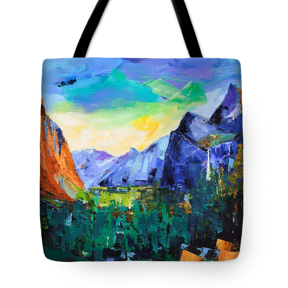 Yosemite Valley Tote Bag featuring the painting Yosemite Valley - Tunnel View by Elise Palmigiani