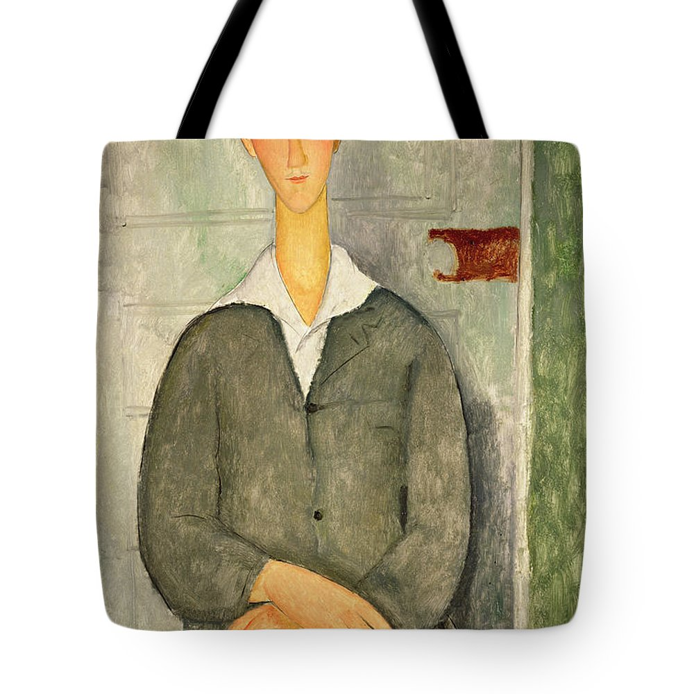Amedeo Modigliani Tote Bag featuring the painting Young Boy With Red Hair by Celestial Images