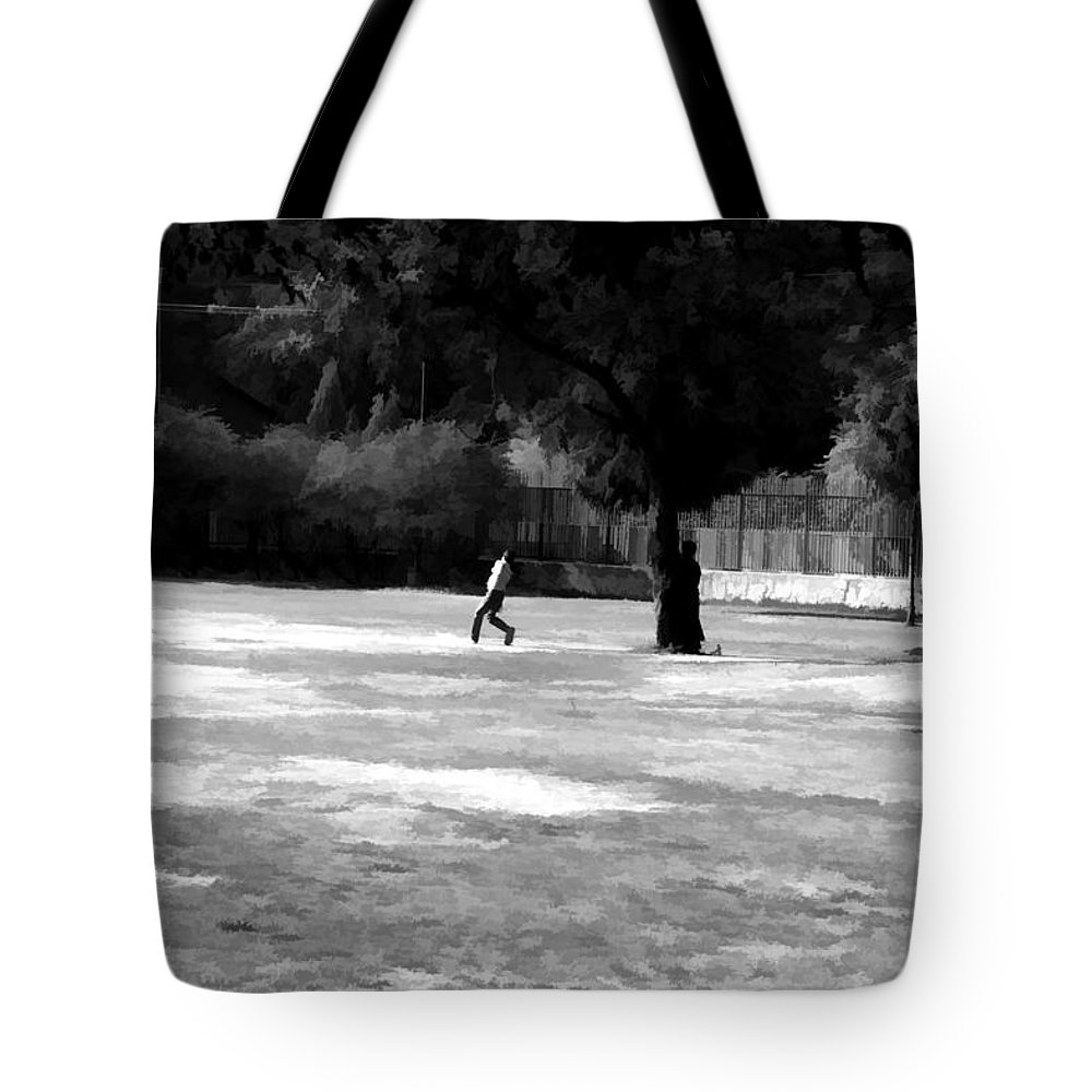 Action Tote Bag featuring the digital art Young Boys Playing Cricket In A Park Near Delhi Zoo by Ashish Agarwal