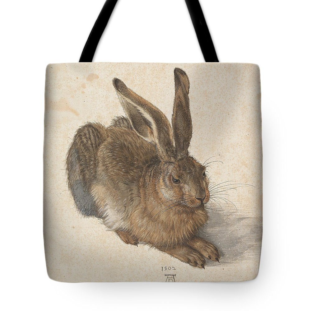 Albrecht Dürer Tote Bag featuring the painting Young Hare by Celestial Images