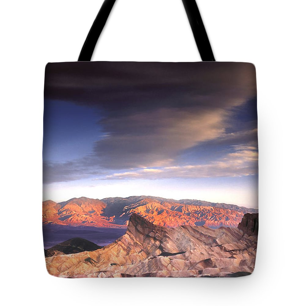 Zabriskie Point Tote Bag featuring the photograph Zabriskie Point Death Valley by Dave Mills