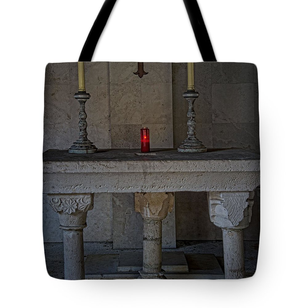 Ancient Spanish Monastery Tote Bag featuring the digital art Ancient Spanish Monastery by Carol Ailles