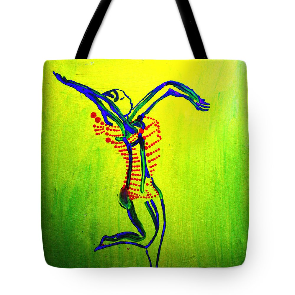 Jesus Tote Bag featuring the painting Dinka Dance - South Sudan by Gloria Ssali