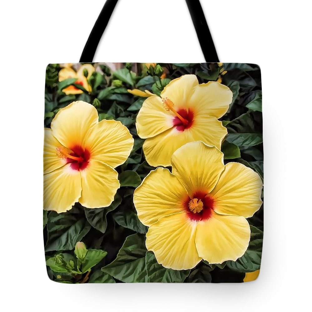 Yellow Tote Bag featuring the photograph Hibiscus by Joyce Baldassarre