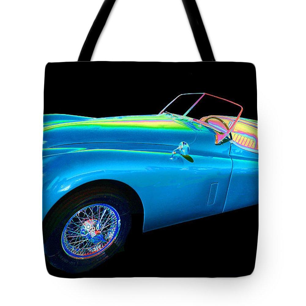 1955 Jaguar Xk140 Tote Bag featuring the photograph Jaguar by Allan Price