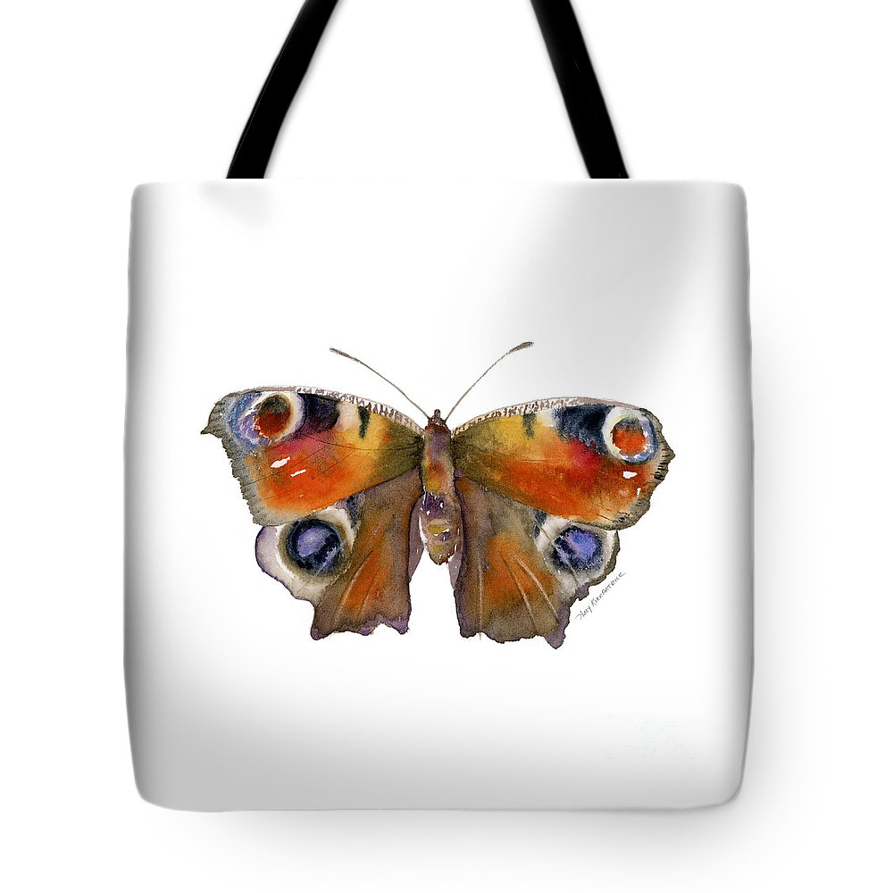 Peacock Tote Bag featuring the painting 10 Peacock Butterfly by Amy Kirkpatrick