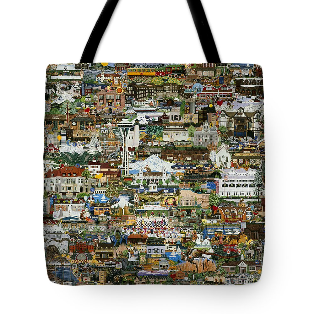 Collage Tote Bag featuring the painting 100 Painting Collage by Jennifer Lake