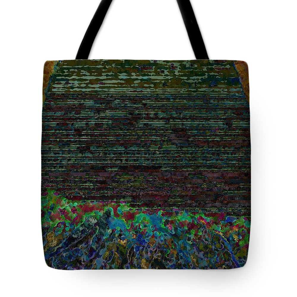 Stairs Tote Bag featuring the painting 1000 Flowers On 1000 Steps by Yevgeni Kacnelson