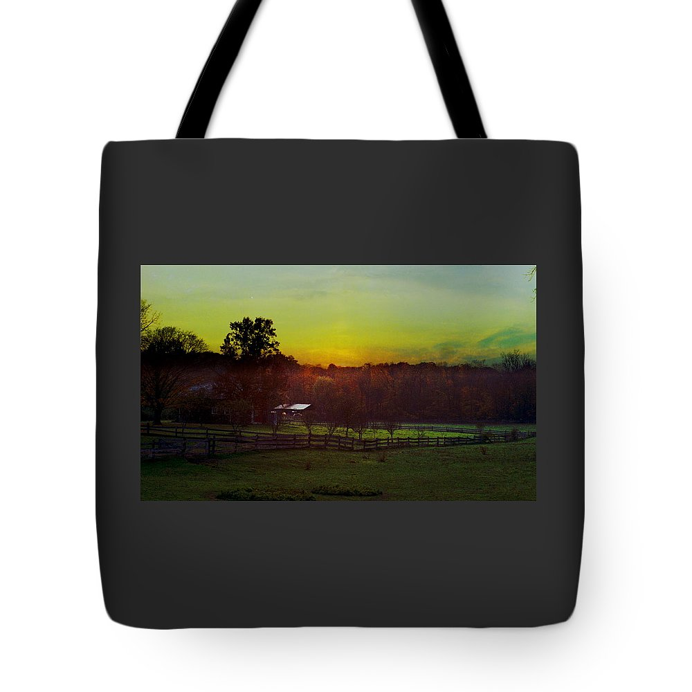Sunrise Tote Bag featuring the photograph 101908-1 by Mike Davis