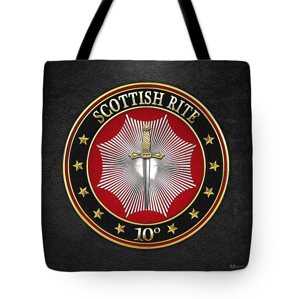 'scottish Rite' Collection By Serge Averbukh Tote Bag featuring the digital art 10th Degree - Elu Of The Fifteen Jewel On Black Leather by Serge Averbukh