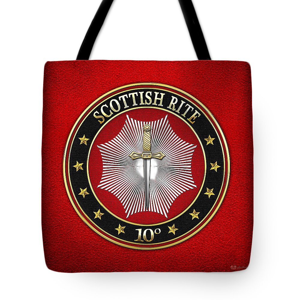 'scottish Rite' Collection By Serge Averbukh Tote Bag featuring the digital art 10th Degree - Elu Of The Fifteen Jewel On Red Leather by Serge Averbukh