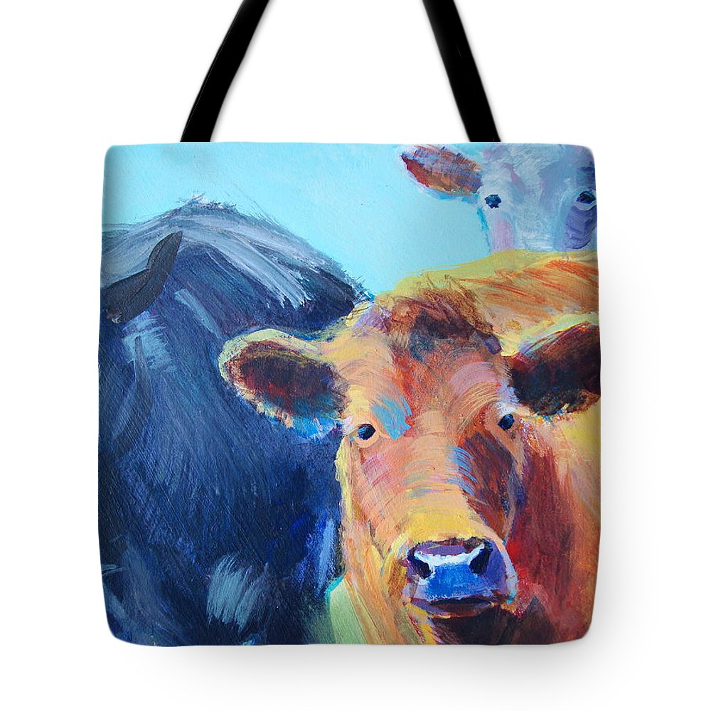 Cow Tote Bag featuring the painting Cows by Mike Jory