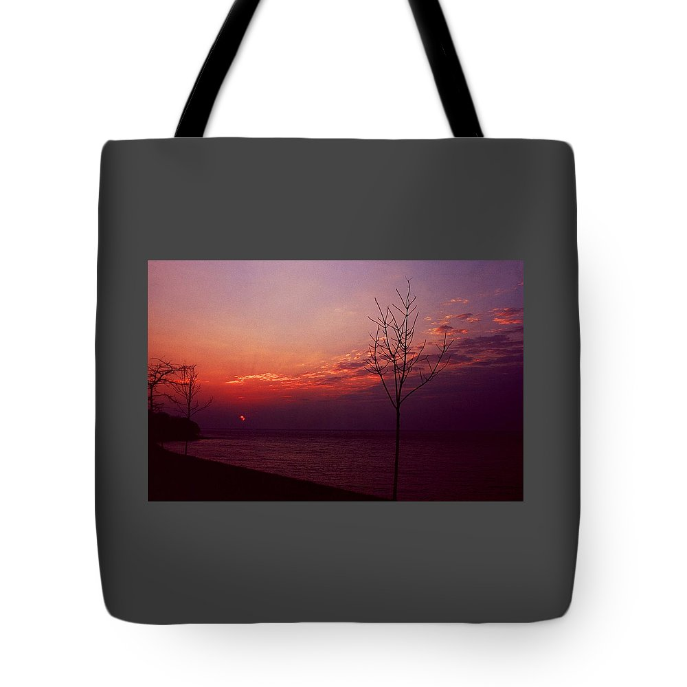 Sunset Tote Bag featuring the photograph 112601-20 by Mike Davis