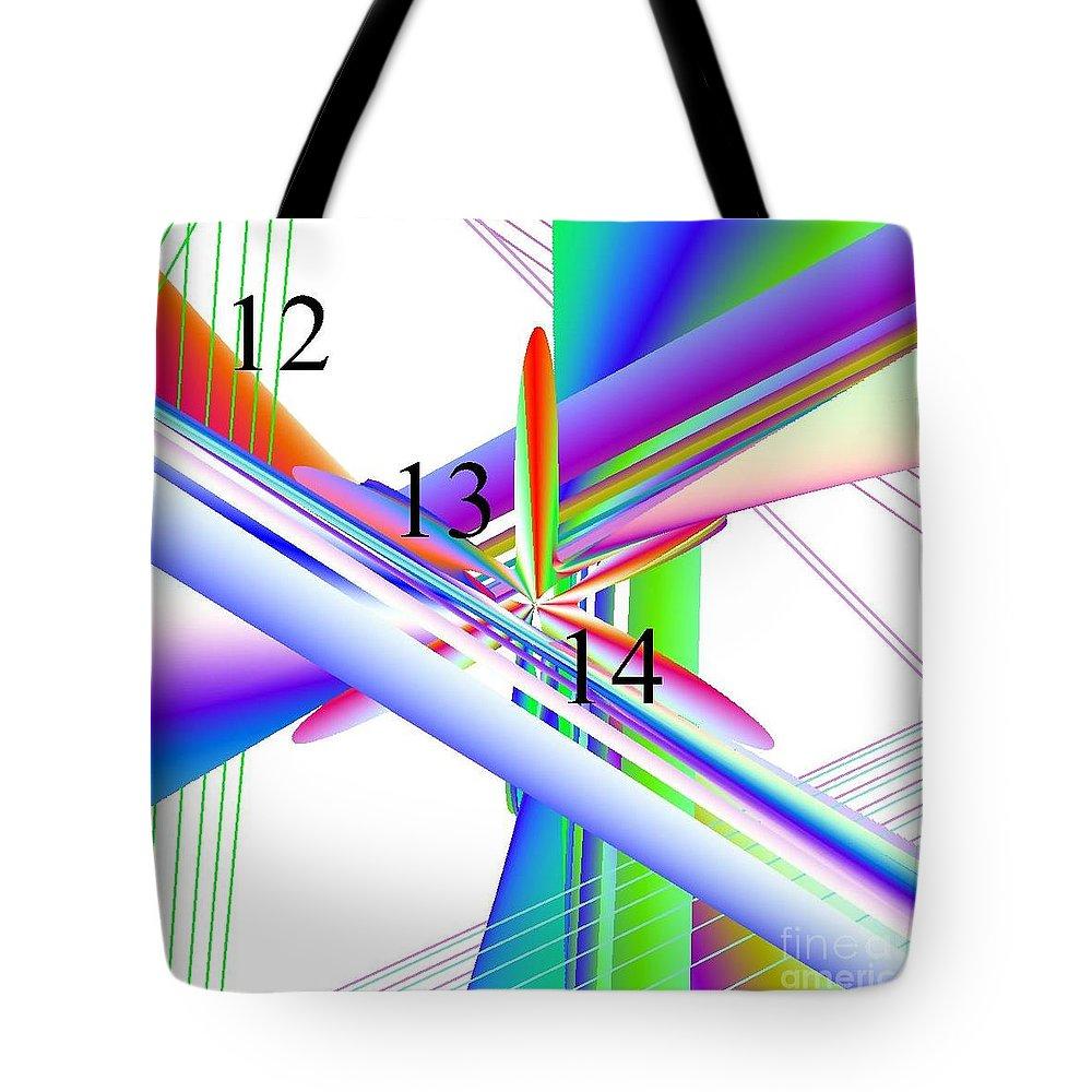 12-13-14 Rainbow Skyway Tote Bag featuring the digital art 12-13-14 Rainbow Skyway by Michael Skinner
