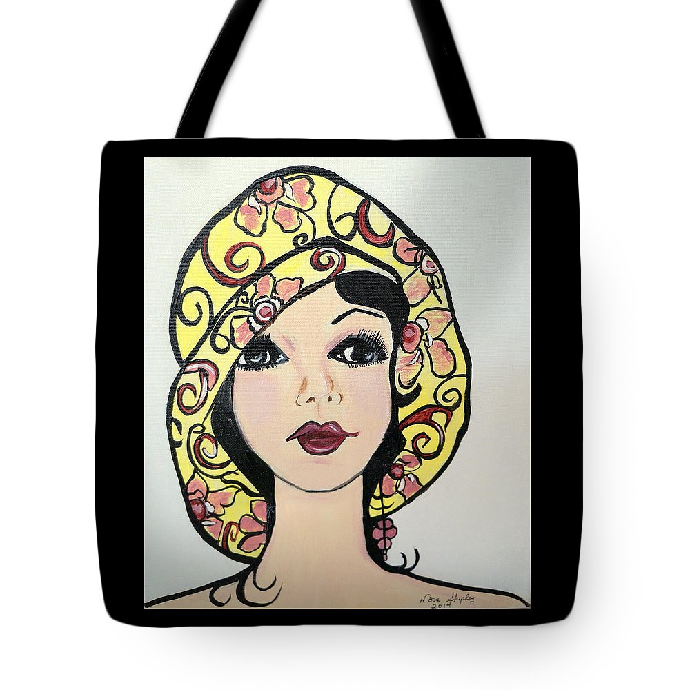 Art Deco Claire Tote Bag featuring the painting Flapper Girl Claire by Nora Shepley