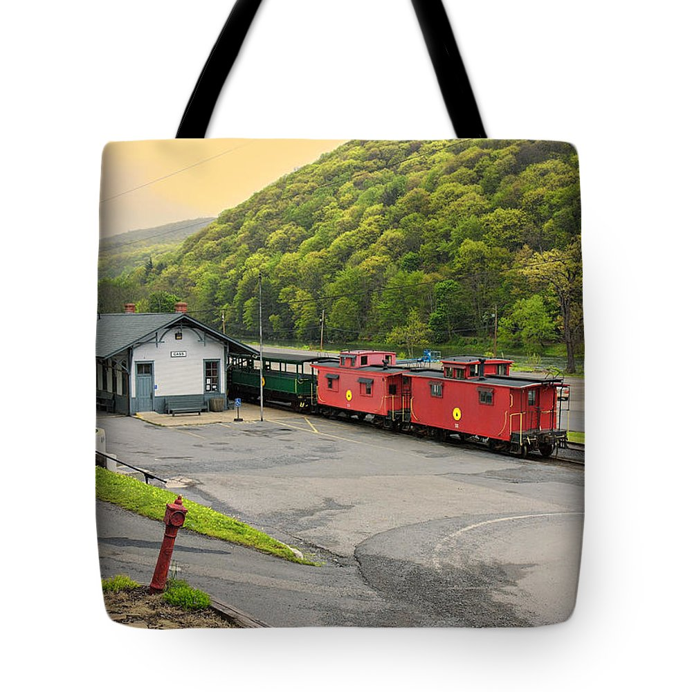 Cass Scenic Railroad Tote Bag featuring the photograph Cass Scenic Railroad by Mary Almond