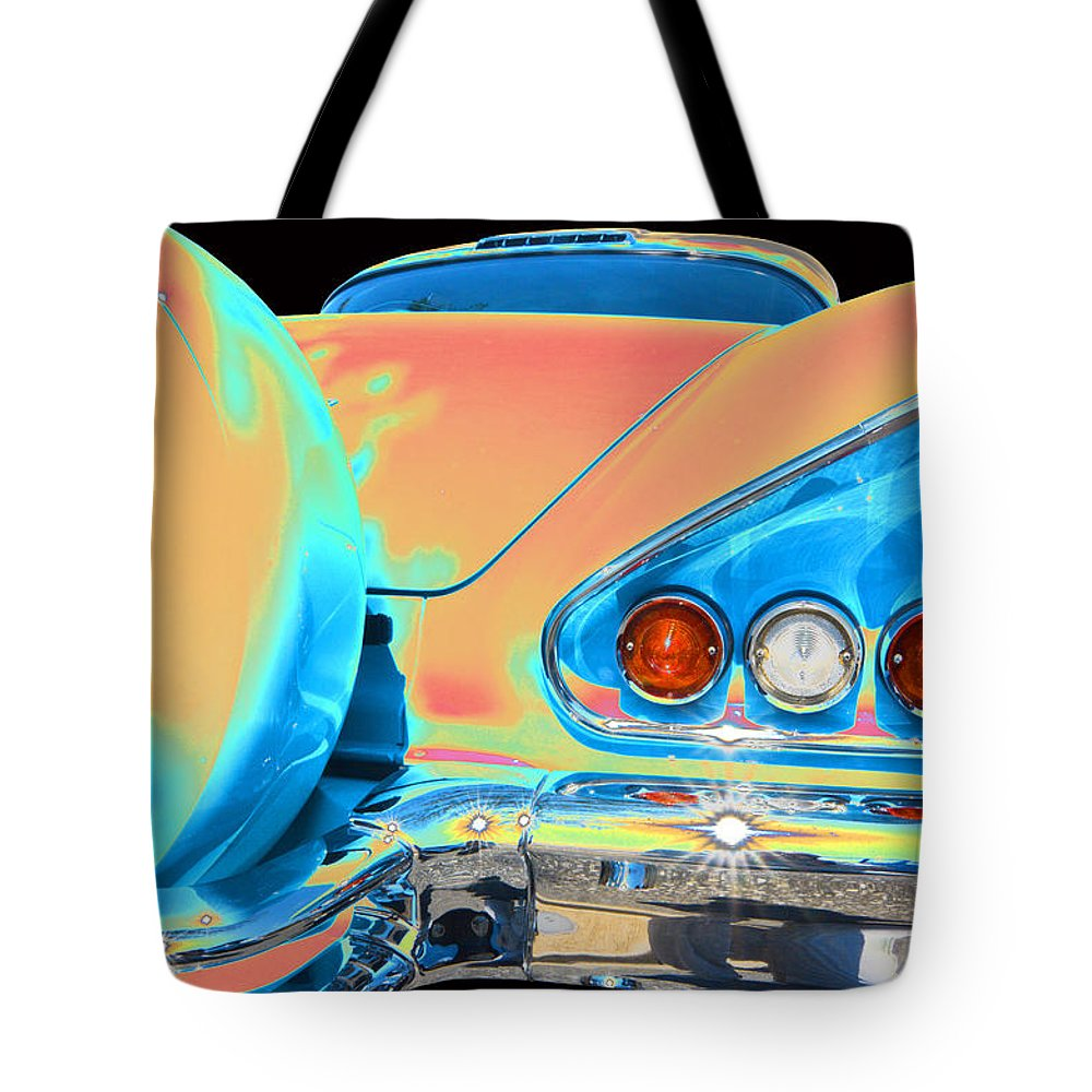 1958 Chevy Impala Tote Bag featuring the photograph Chevy by Allan Price