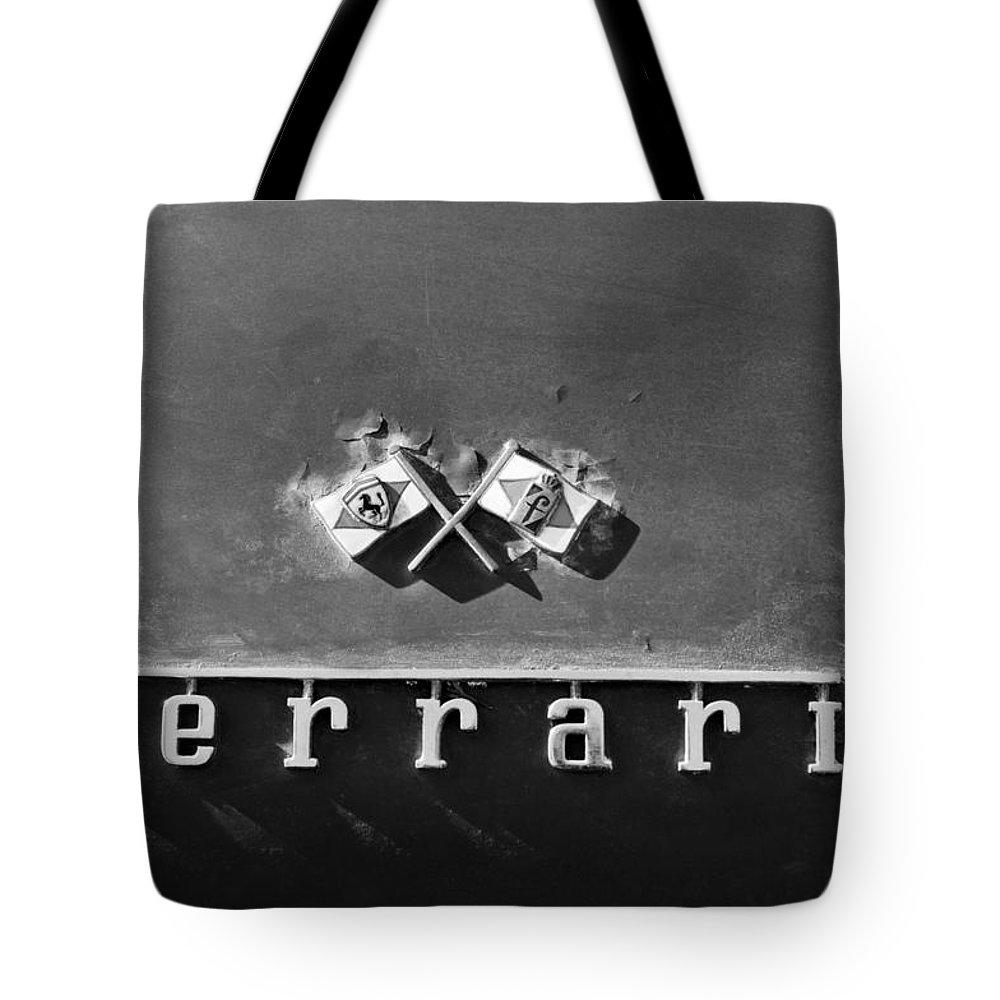 Ferrari Emblem Tote Bag featuring the photograph Ferrari Emblem by Jill Reger