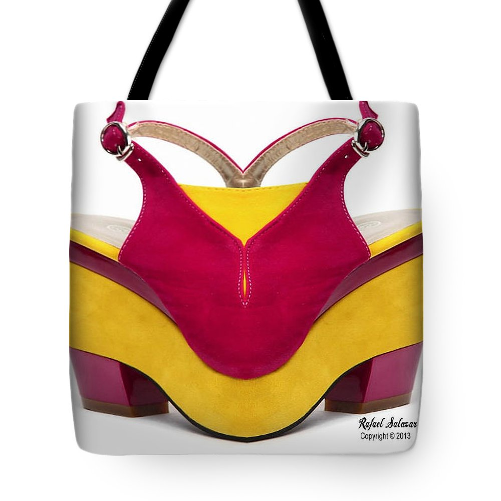 Conceptual Tote Bag featuring the digital art Shoe Love by Rafael Salazar