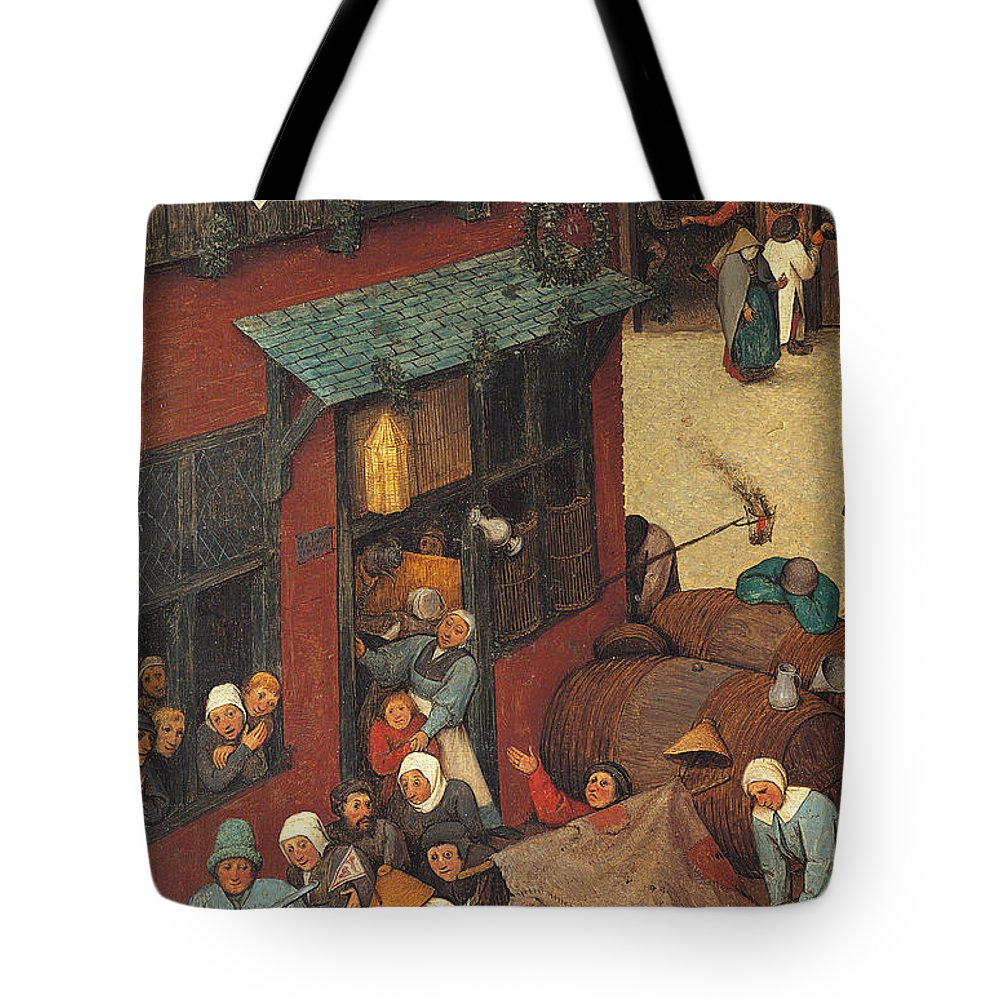 Allegory Tote Bag featuring the painting The Fight Between Carnival And Lent by Pieter the Elder Bruegel