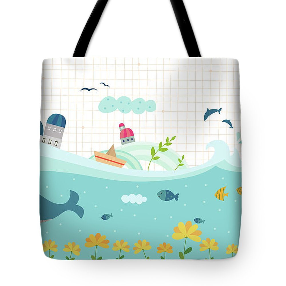 Seaweed Tote Bag featuring the digital art View Of Town by Eastnine Inc.