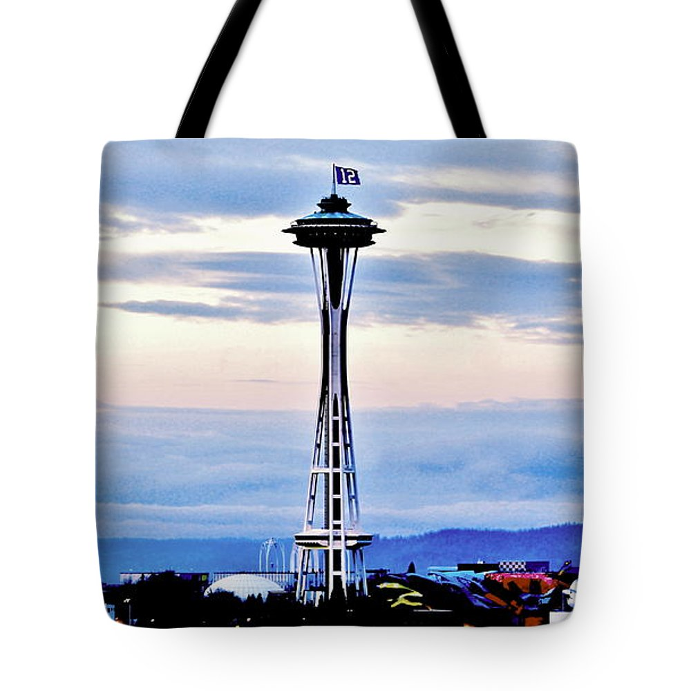 Seattle Tote Bag featuring the photograph 12th Man Panorama by Benjamin Yeager