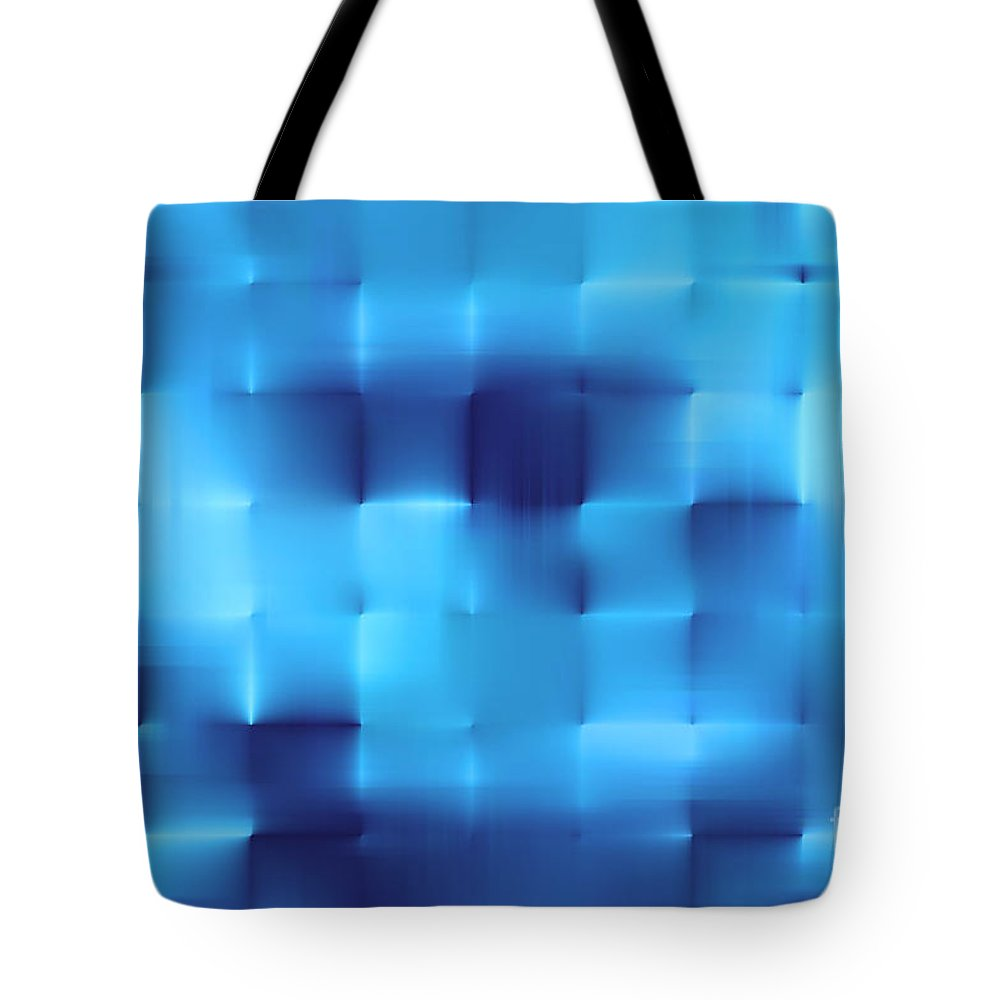 Square Pattern Tote Bag featuring the digital art Blue Squares by Dan Radi