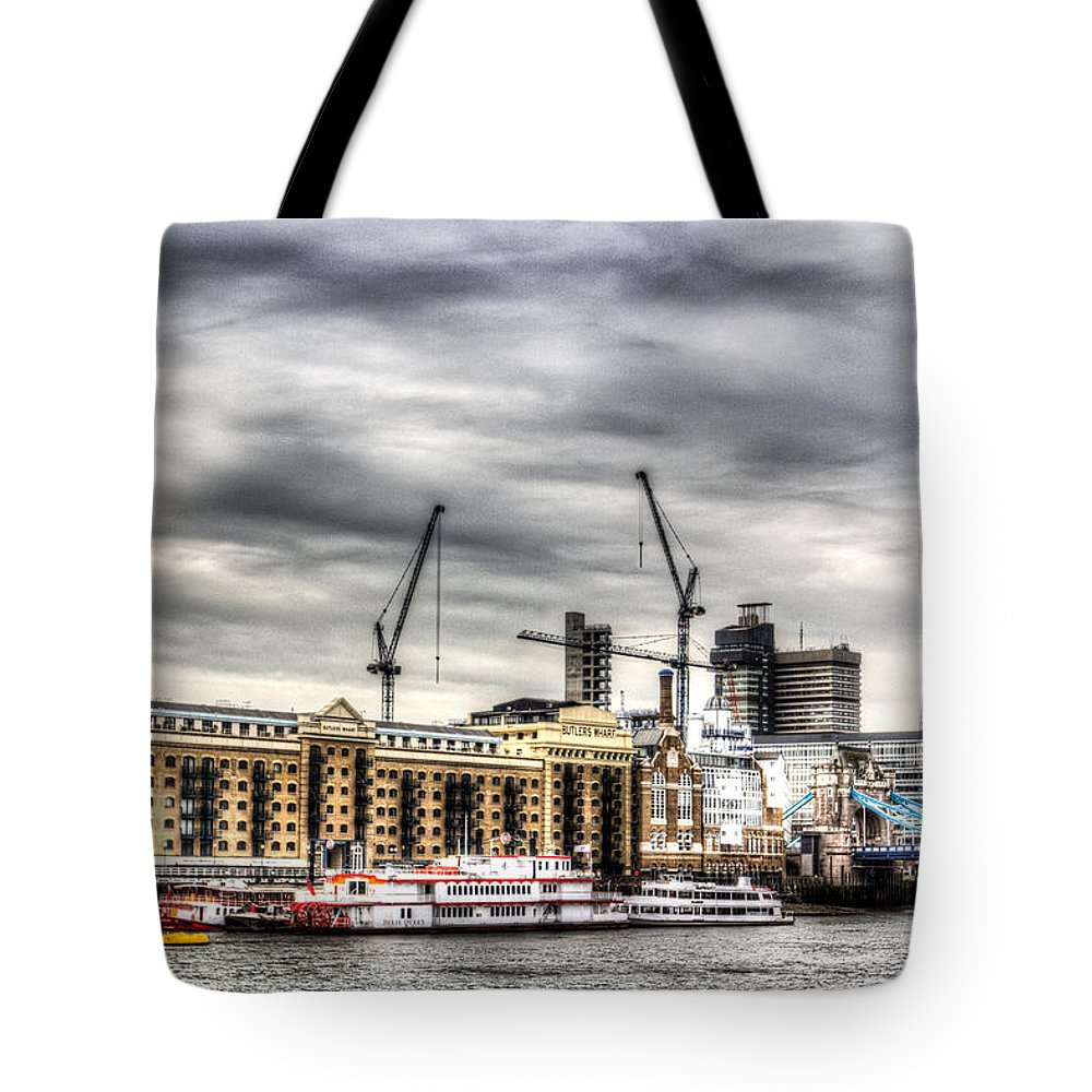 Butlers Wharf Tote Bag featuring the photograph River Thames View by David Pyatt