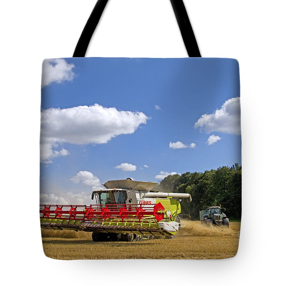 Combine Harvester Tote Bag featuring the photograph 130201p023 by Arterra Picture Library